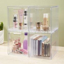 Commerce de gros empilable personnalisés en acrylique transparent des boîtes de cosmétique