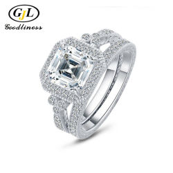 Comercio al por mayor contrato personalizado Anillo de Bodas de Plata diamantes joyas de moda