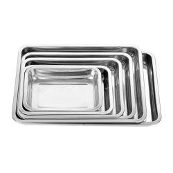 Stockage de la nourriture de gros carrés personnalisé rectangulaire Plateaux en acier inoxydable