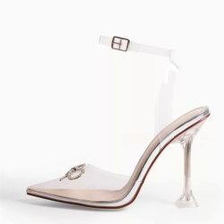 Женщин из ПВХ обувь насосы Crystal плексигласа высокие каблуки леди обувь сандалии