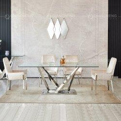 Foshan meubilair roestvrij staal rechthoek getemperd glas eettafel