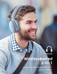 سماعات رأس بتقنية Bluetooth® لاسلكية قابلة لإعادة الشحن مع إلغاء التشويش النشط لتشغيل الألعاب على أجهزة الكمبيوتر الشخصية
