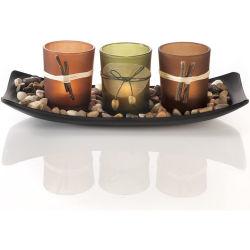 Jeu de Candlescape naturelles, 3 chandeliers décoratifs, de roches et le bac