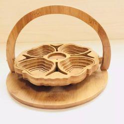 創造的な折るタケ製品5つのコンパートメント軽食およびフルーツのタケクラフトのタケ装飾のバスケット