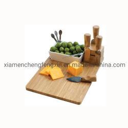 100% Natural y elegante de madera de bambú Houseware Queso Junta Freshware cuberterías sets que incluyen servicio de utensilios de cocina