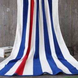 Personnalisé de haute qualité Serviette de plage coton Stripe, bleu blanc Stripe de serviettes de piscine