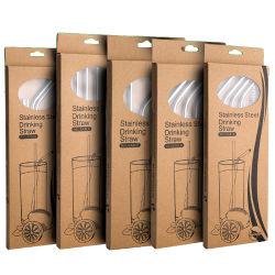 MOQはカスタマイズされたデザイン紙箱が付いている曲がった304ステンレス鋼の飲むわらをまっすぐに卸し売りしない