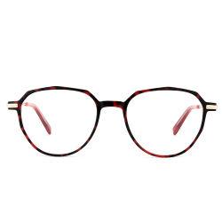 Acetato de China Ponta Sobrancelhas Templo frontal de metal óptico de combinação de óculos Armações de óculos de Metal