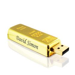 Luxury Gifts Gold Bar Pendrive Drive Flash Golden Bar طلاء معدني USB ذهبي 16 جيجا بايت مع طباعة الشعار