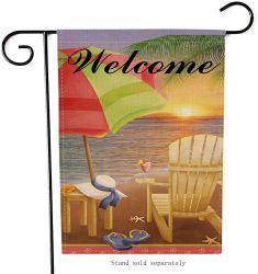 ホーム装飾的な屋外の庭のフラグのビーチチェアの傘の倍は、熱帯海洋の家のヤードのフラグ、沿岸日曜日の庭のヤードの海事の海の装飾味方した