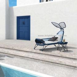 Conception spéciale de la plage de plein air Laybed châssis métallique de luxe PE Ratta faite à la main Chaise salon Sun résistant aux UV