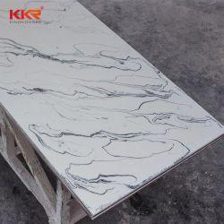 Искусственный камень с текстурированной поверхностью твердой поверхности из белого мрамора с черными вен