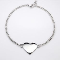 Novo Design em forma de coração 18K banhado a ouro 925 Sterling Silver Personalizar Nome Personalizado Bracelete gravada