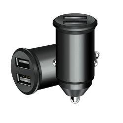 Accessoires de téléphone mobile noir Chargeur de voiture USB en métal