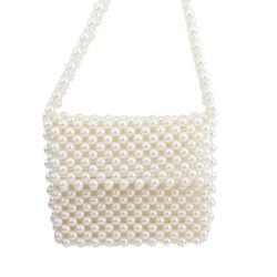 حقيبة كتف جديدة للنساء حقيبة يد محبوك مصنوعة يدويًا من اللؤلؤ المحبوك