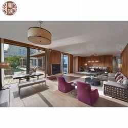 2019中国の東南アジア様式のチークの純木の藤のホテルの寝室の家具をカスタマイズした