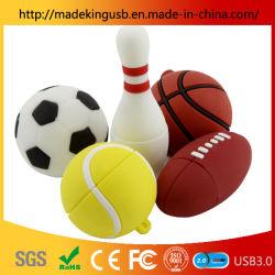 卸し売り小型 PVC のシミュレーション球 U ディスクの柔らかいゴム製のサッカーかバスケットボールかボーリングか テニス USB フラッシュドライブ
