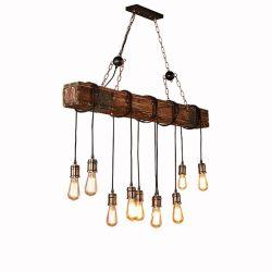 Из естественной древесины промышленного освещения Vintage пеньки веревки подвесной светильник