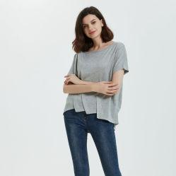 실크 캐시미어 천은 숙녀 형식 절반 소매에 의하여 뜨개질을 한 t-셔츠 스웨터를 혼합한다