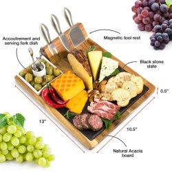 Il formaggio rassodato della scheda del formaggio dell'ardesia lavora il cassetto Premium del servizio dell'acacia