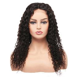 Il colore naturale di densità di 180% candeggiato annoda la parrucca riccia brasiliana della chiusura del merletto di Remy Jerry
