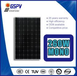 Panel Solar Mono-Crystalline 260W con TUV, CE, CQC, ISO