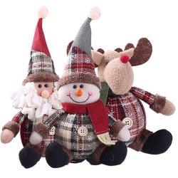 Lindo Peluche peluche suave bebé juguetes de Navidad Santa Claus el muñeco de nieve Elk