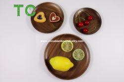 طبيعيّ مستديرة خشبيّة لوحات [بلك ولنوت] خشبيّة صينية قالب وجبة خفيفة لوحة عقبة حصّة يقعّر صينية خشبيّة أدوات أداة مائدة