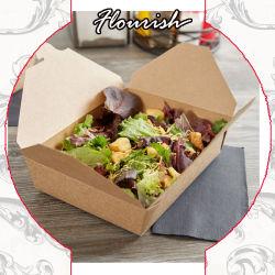 Biodegradierbares einfaches Satz-Fett-briet beständiger Packpapier-Schnellimbiss-Gaststätte-Salat Huhn, Hamberger gebratener Fleisch-, dasgrill Papierkasten herausnehmen