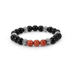 braccialetto in rilievo dell'agata naturale nera di 8mm per gli uomini delle donne