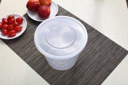 Удалите круглый пластмассовый контейнер для продуктов питания с крышкой