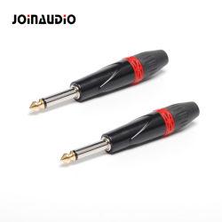 """1/4 """" di connettore della mono cuffia del Jack del connettore di telefono 6.35 audio (JS-01S)"""