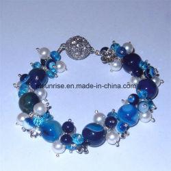 Естественным каменным отбортованный кристаллом агат браслетов голубой для женщин и людей