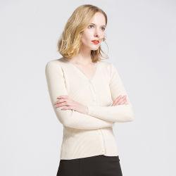 新しい女性のレースの秋のコートの長い袖が付いているマーセル加工された綿のカーディガンのセーターによって編まれる衣類卸しで