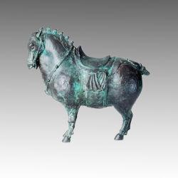 동물성 청동 조각품 당나라 말 고급장교 동상 Tpal-151