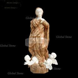 Jardin Deciration statue de pierre Lady sculpture en marbre (GSS-226)