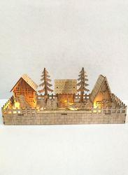 Corte láser LED Merry Chirstmas decoración de la casa de madera