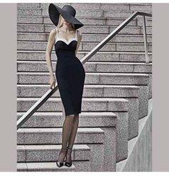 De zwarte Met een V-hals Elegante Avondjurk van de Kleding van Prom van het Verband van de Lengte van de Knie