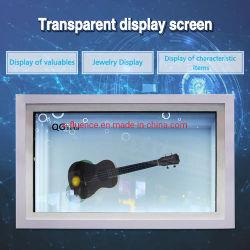 No LCD transparente de vendas Caixa vitrina de exposição publicidade rede WiFi Media Player, TFT LCD Ad player de vídeo