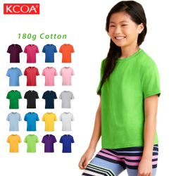 Soft 180gsm Personnalisation de gros 100 coton vert enfants Tee-shirt