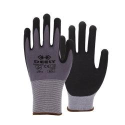 継ぎ目が無い編まれた15ゲージの灰色か赤いナイロンスパンデックスはさみ金のサンディのニトリルのやし上塗を施してある手袋