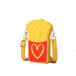 새로운 디자인 감자 튀김 작풍 소녀 지갑을%s 소형 Crossbody 실리카 젤 부대