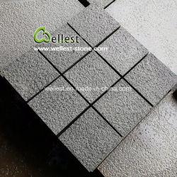 Basalte noir de Hainan Bush martelé de galets de la pierre pour l'allée Paving
