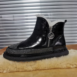 Rhinestone Leather Footwear Designer Ladies Shoes Slippersの方法Ankle Real Fur Women Shoes