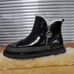 La mode à la cheville fourrure véritable Chaussures Femmes avec Rhinestone créateur de chaussures en cuir Mesdames Chaussures pantoufles