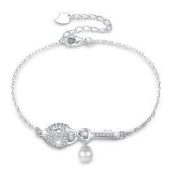 925 Sterling Silver Heart Forged Key Pearl Girlfriend Bracelet