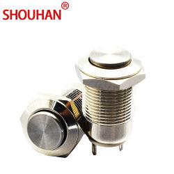 Interrupteur métallique 12 mm de commutateur à bouton poussoir de frais généraux La128-A10 sans voyant