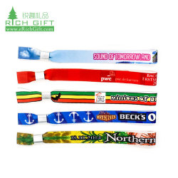 Promotion Fashion Festival Événement personnalisé imprimé Rainbow élastique tissu de polyester textiles bracelet RFID Coachella amitié ruban de satin Bracelet tissé en nylon