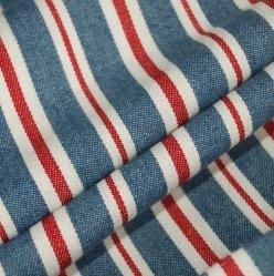 Sentiment doux fils teints rouge bleu denim de coton tissu Stripe Look