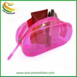 Cor-de-Rosa personalizados espelho saco cosméticos PVC transparente Estojo com zíper